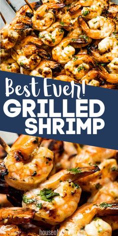 This quick and easy 30 minute dinner recipe is always a hit! An easy to make shrimp marinade gives intense flavor to this shrimp making it perfect for eating on it's own or piling into some shrimp tacos! Easy Grilled Shrimp Recipes, Grilled Shrimp Skewers, Fish Recipes, Seafood Recipes, Cooking Recipes, Healthy Recipes, Grilled Shrimp Marinade, Skewer Recipes, Shrimp On Grill