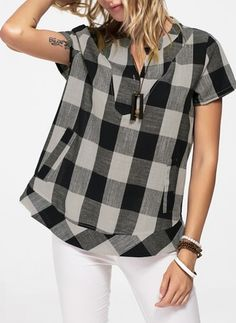 Check Casual Cotton V-Neckline Short Sleeve Blouses Casual Outfits, Fashion Outfits, Womens Fashion, Gingham Shirt, Blouse Styles, Short Sleeve Blouse, Casual Tops, Latest Fashion Trends, Blouses For Women