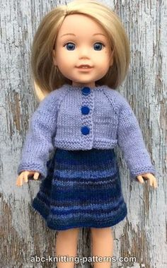 ABC Knitting Patterns - Wellie Wishers Doll Dress and Cardigan inch doll) Knitting Dolls Clothes, Baby Doll Clothes, Crochet Doll Clothes, Doll Clothes Patterns, American Girl Outfits, American Doll Clothes, Knitted Doll Patterns, Knitted Dolls, Knitting Patterns
