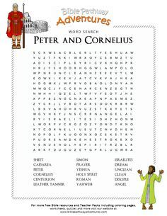 Bible Word Search Peter And Cornelius Bible Lessons For Kids