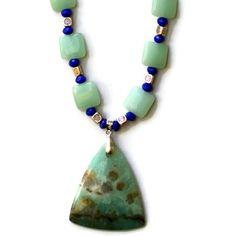 Long Aqua Blue Amazonite Pendant Necklace/ Natural by ALFAdesigns, $69.99