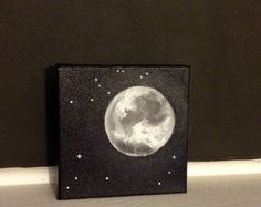 Moon and Stars Acrylic Painting 1114 inches Home Accents Cosmic Home Decor Black and White Painting Gray Wall Decor Ready to Ship Star Painting, Acrylic Painting Canvas, House Painting, Canvas Art, Moon Painting, Purple Bedroom Decor, Grey Wall Decor, Black Decor, Bedroom Art
