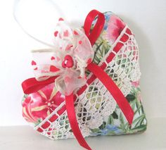 Sachet Heart FLORAL HEART Ribbon with Lavender