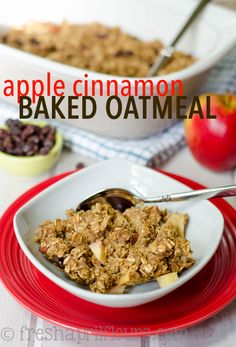 Apple Cinnamon Baked Oatmeal: Easy, customizable, crowd-pleasing baked oatmeal spiced with cinnamon, loaded with chunks of apples, and studded with plump raisins.