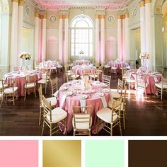 Pink, Gold, Mint and Brown Color Palette