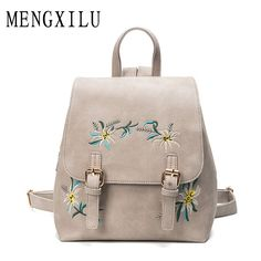 7f1360270618 Women s Backpacks 2017 Fashion Embroidery Backpacks For Adolescent Girls  School Bag Women PU Leather Women Backpack