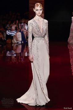 be1af95bd465 elie saab fall 2013 2014 couture long sleeve v neck beige gown -- Elie Saab  Fall Winter Couture Collection