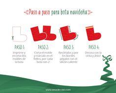 La clásica bota navideña, muy fácil de hacer y con todo el espíritu navideño