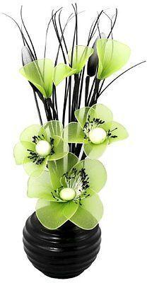 Flourish Small 813 Mini Nylon Flower & Vase Set Black/Lime Green Home Household