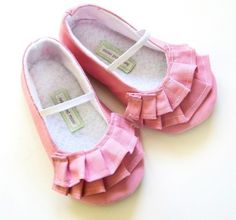 Shoes BABY toddler GIRL booties pink ruffles by ivoryandmoss, $25.00