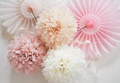 7 Tissue Party Poms .. Wedding Reception Decorations / Wedding Backdrop .. Custom Colors
