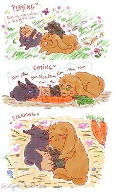 Happy bunbun family ... Drawn by racyue ... Free! - Iwatobi Swim Club, free!, iwatobi, makobun, bunny, rabbit, harubun, haruka nanase, haru nanase, haru, nanase, haruka, makoto, tachibana, makoto tachibana, ranbun-chan, renbun-chan, ren, ran, ren tachibana, ran tachibana