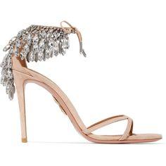 Aquazzura Eden crystal-embellished suede sandals (€1.690) via Polyvore featuring shoes und sandals