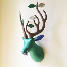 Green fabric deer head  faux taxidermy  leaves by FabricTrophy