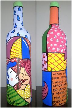 Paint bottle and add decoupaged quote