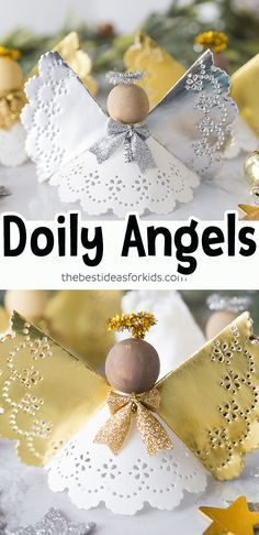 Angel Craft Doily Angel Paper Ornaments - this angel craft for Christmas is so easy to make! This is the perfect paper craft for Christmas. Kids will love making these doily angels too! Christmas Angel Crafts, Diy Christmas Ornaments, Kids Christmas, Holiday Crafts, Kids Holidays, Christmas Trees, Xmas, Unicorn Ornaments, Paper Ornaments