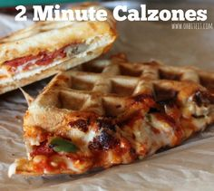 ~2 Minute Calzones! Easy, uses frozen digorno pizza & waffle maker| Oh Bite It