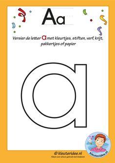 Pakket over de letter a blad 4, versier de letter a, letters aanbieden aan kleuters, kleuteridee.nl, free printable.