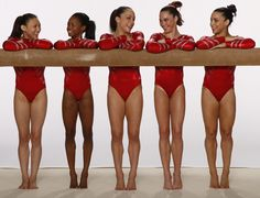 The 2012 U.S.Women's Gymnastics team poses for a photo shoot before the 2012 Olympics.