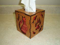 Laser Cut Wood Tissue Box Cover Cat Theme | eBay