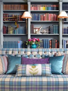 Whether you want the subtlety of a throw or the impact of a newly upholstered sofa, tartan fabric adds a comfortable, homely feel to any room. Scottish Decor, Scottish Thistle, Tartan Fabric, Tartan Curtains, Country Interior, Palette, Lounge, Upholstered Sofa, Decoration