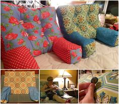 If you read, sew, or sit in bed for long each day, this backrest pillow with arms might be a good project to make. This backrest pillow is cozy and comfy. It is an easy sewing project. What you will n(Diy Pillows Decorative) Sewing Pillows, Diy Pillows, Easy Sewing Projects, Sewing Crafts, Sewing Tips, Sewing Tutorials, Sewing Hacks, Begginer Sewing Projects, Free Tutorials