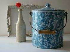 antique french enamelware blue swirl pot, cottage chic home decor, french shabby chic kitchen decor, blue and white vitreous enamel on Etsy, $93.56