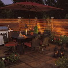 Rona -Interesting backyard outdoor lighting effect. Gazebo, Outdoor Lighting, Outdoor Decor, Outdoor Kitchens, Decks, Home Remodeling, Home And Garden, Backyard, Houses