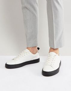 ASOS Sneakers In White With Contrast Black Sole - White