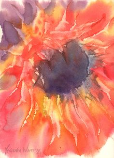 sunflower with a palette knife - #watercolor #painting by Yevgenia Watts
