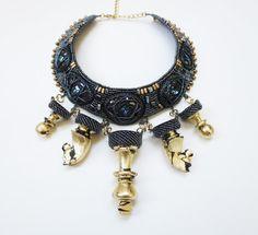 kristal verklaring ketting, boho sieraden, schaakstukken, Schaken ketting, tribal ketting, Boheemse sieraden, kristal ketting, masha bittere