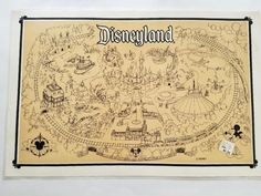 Two Vintage Disneyland Maps Big Thunder Mountain And Tomorrowland Table Placemats Walt Disney Disneyland Map Vintage Disneyland Disneyland