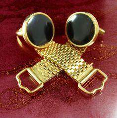 Classy Onyx Wedding Cufflinks Vintage gold mesh cuff links Formal Wear  Jewelry tuxedo accessory gentleman gift
