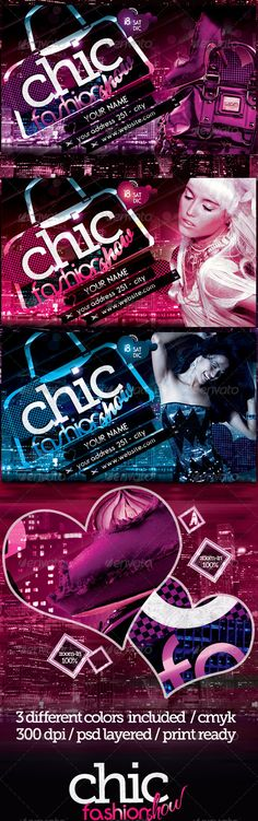 Chic Fashion Show Flyer Template / $6. *** This flyer is perfect for the promotion of Club Parties, Fashion Shows/Festivals, New Collections or Whatever You Want!. ***