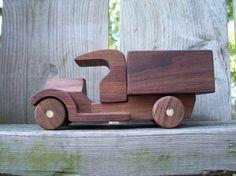 walnut wooden truck