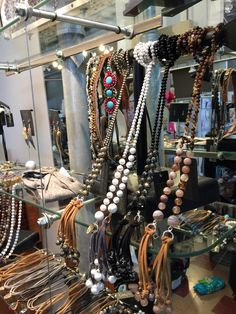 These long, wrap necklaces from Emily Kay are so cool!  There are so many ways to wrap and style them.  Come in and let us show you! :)