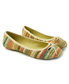 Woven Rainbow Stripe Bow Flat Shoes