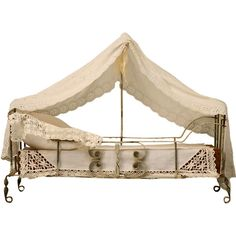 c.1910 French Hand-Formed Metal Doll Bed ❤ liked on Polyvore featuring home, furniture, beds, interior, bedroom, metal furniture, french bed, metal beds and french furniture