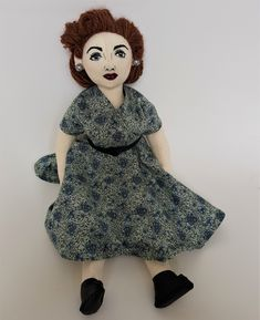 Cloth Art Doll, 15 inches, Style, Doll named Nancy Faux Leather Belts, Black Faux Leather, Bead Sewing, Full Circle Skirts, Plus Size Model, 1950s Fashion, Doll Face, Wearing Black, Art Dolls
