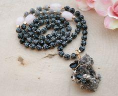 Beaded Crystal Necklace Smokey Quartz Druzy by FlowersInMyHairShop