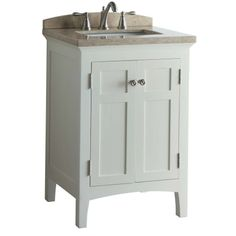 Shop allen + roth Norbury 24-in x 20-5/8-in White with Weathered Edges Undermount Single Sink Bathroom Vanity with 8-in Widespread Engineere...