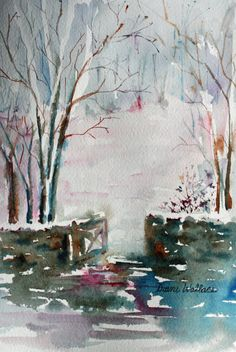Winter walk - Watercolor Private collection.
