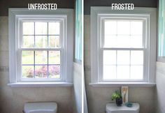 Frosting, Tanking, And Sucking It Up   Young House Love - how to frost your windows and keep nosey neighbors out of site!