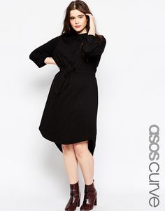 Browse online for the newest ASOS CURVE Waisted Shirt Dress In Jersey styles. Shop easier with ASOS' multiple payments and return options (Ts&Cs apply). Plus Size Dress Outfits, Plus Size Shirt Dress, Plus Size Party Dresses, Hi Low Dresses, Plus Size T Shirts, Curvy Outfits, Dresses For Work, Curvy Fashion, Plus Size Fashion
