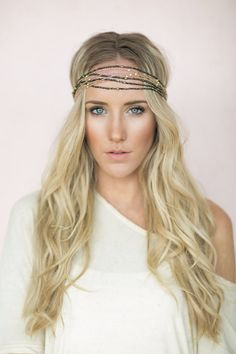 Beaded Headband, Bohemian Head Wrap, Gold, Silver Seed Beads Fashion Hair Accessories (HB-176) on Etsy, $28.00