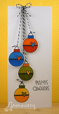 xmas ornaments card. #christmas #cards #ornaments