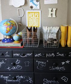 I like the idea of labeling the drawers, but I don't think I'd do it in chalk - too easy to mess up or remove. :P