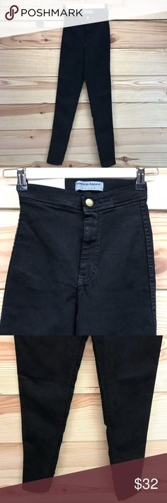 """American Apparel Easy Jeans XS Black High Waist •American Apparel •Easy Jeans •XS •Stretch Jeggings •Black •High Waist •Made In USA •NWT Measurements taken with garment flat (in inches): Waist: 10.5"""" Inseam: 29"""" Front Rise: 10"""" Back Rise: 12.5"""" Leg Opening: 4"""" American Apparel Jeans Skinny"""