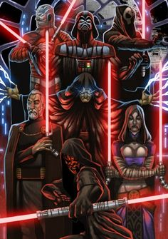 Darth Malak, Darth Vader, Darth Nihilus, Darth Sidious, Count Dooku, Asajj Ventress, and Darth Maul