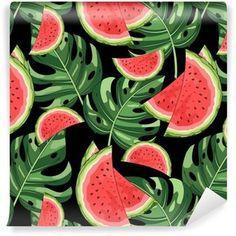 Vinyltapete Nahtloses Muster mit Wassermelone und tropischen Blättern im Hintergrund. Vektor-Illustration.